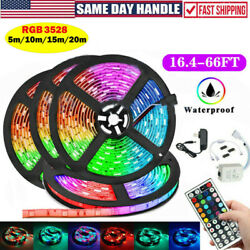 66ft Flexible 3528 Rgb Led Strip Light Remote Fairy Light Room Party+remote