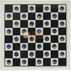 Marble Chess Set With Chess Pieces Inlaid Lapis Stone Yin And Yang Handmade Arts