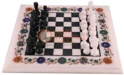 White Marble Chess Lover Indoor Game Chess Set Board Inlaid Multi Stone Arts Top