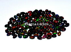 3x5 Mm Size Natural Ethiopian Black Opal Oval Cabochon Fire Opal Loose Gemstone