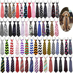 120pc Large Dog Neckties Stripes Dot Wave Ties Elastic Band Grooming Supplies