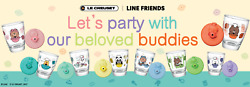 7-11 Line Friends X Le Creuset Glass Cup W/ Lid Full Set Of 8 Free Shipping