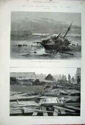 Old Antique Print 1881 Gale Storm Ship Wreck Atlantic Tyne Church Whitby 19th