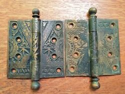 Two Antique Brass Plated Fancy Door Hinges 4 X 4 Oriental C1885 By Branford