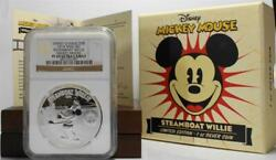 2014 2 Niue Proof 999 Silver Disney Steamboat Willie Mickey Mouse Ngc Pf 69 Uc