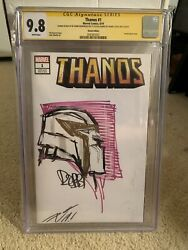 Ss Cgc 9.8 Thanos 1 Sketch Variant Signed By Donny Cates Thanos By Robbi Rod.