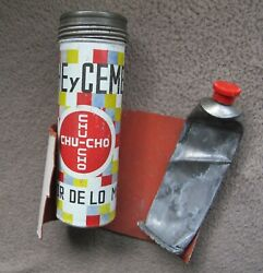 Vintage Mexican Tube Repair Kit Tin Can Advertising Dog Bicycle Tire Patch