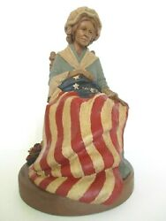 Tom Clark Gnome Betsy Ross Sculpture 1991 Edition 42 Signed By Artist