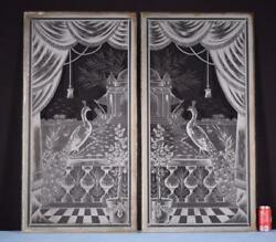 Pair Of Antique French Etched Glass Panels With Peacocks
