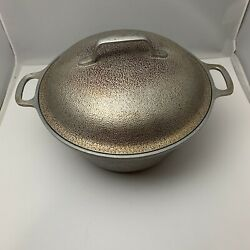 Vtg Century Silver Seal Hammered Cast Aluminum Dutch Oven With Lid