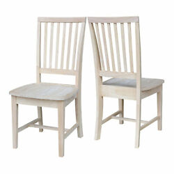 Dining Chairs Kitchen Box Seat Side Chair Furniture Solid Wood Unfinished 2pc