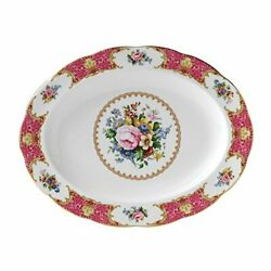 Royal Albert Lady Carlyle 13 Oval Platter Mostly White With Multicolored Flo...