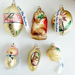 Vintage Lauscha Easter Tree Ornaments Set Of 6 Bunny Chick Eggs Basket