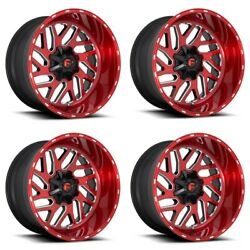 Set 4 24 Fuel D691 Triton Candy Red Milled Wheels 24x12 8x6.5 -44mm Truck Rims