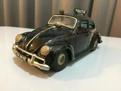 Rare Bandai Tin Toy Vw Of Beetle Politie /black /made In Japan /1950