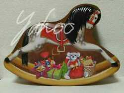 Silver Crane Rocking Horse Christmas Present Teddy Bear Embossing Tin Toy Can