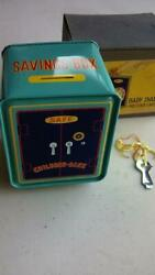 With Box Things At The Time Tin Toy Piggy Bank Baby Debt Stock Dial Key
