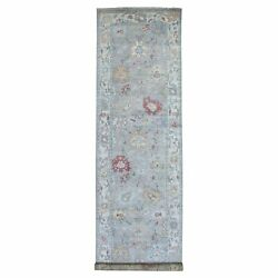 4and039x16and0393 Extra Soft Wool Gray Angora Oushak Hand Knotted Xl Runner Rug R68574