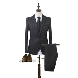 Mens 2pcs Suits One Button Formal Slim Fit Solid Color Wedding Tuxedo Dinner