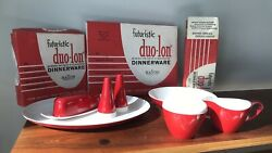 Vintage Melmac Completer Pcs In Boxes Never Used Red White Salt Pepper More