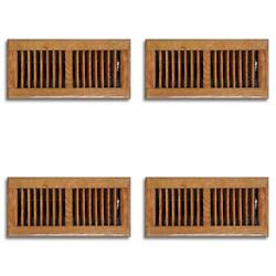 4 Pack 4 X 10 In. Oak Wood Floor Diffuser Grill Register Vent Cover Heating Ac
