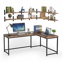 Tribesigns Working Computer Desk With Wall Mounted Floating Shelves Corner Table