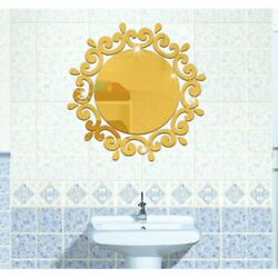 Gold 3D Mirror Wall Stickers Decorative Stickers For Toilet Porch Washing Room