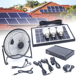 Solar Power Mobile Emergency Led Light And Fan Dc System Kit For Camping Hiking