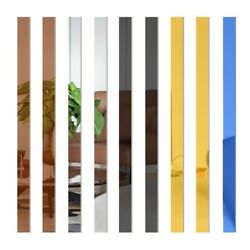 10Pcs Mirror Sheet Wall Stickers Acrylic Striped Removable Wall Decal Home Decor