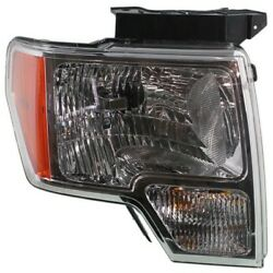 Headlight For 2009-2014 Ford F-150 Right Chrome Housing With Bulb