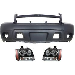 Bumper Cover Kit For 2007-2014 Chevrolet Tahoe Front With Headlight Capa