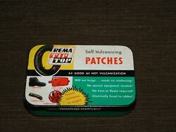 Vintage 3 1/2 Wide Rema Tip Top Bicycle Rubber Tire Repair Kit In Tin