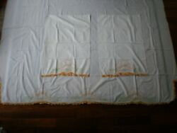 Vintage Hand Embroidered Crochet Lace Flat Sheet And 2 Pillowcases