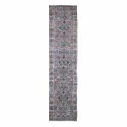 2and0398x11and0396 Antique Farsian Karman Runner Flower Design Wool Hand Made Rug R66840