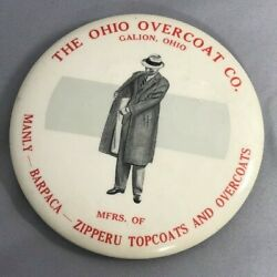 Ohio Overcoat Galion Celluloid Pocket Paperweight Mirror Vintage Advertising