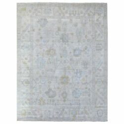 9'x11'8 Hand Knotted Angora Oushak Extra Soft Wool Light Gray Rug R68440