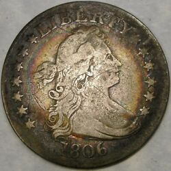 1806/5 Draped Bust Silver Quarter Rare Overdate W/target Rainbow Toning Engraved