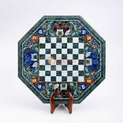 Green Marble Chess Set Indoor Best Game With Stand Multi Stone Elephant Art Deco