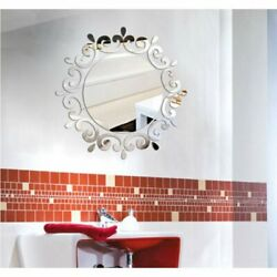 Silver 3D Mirror Wall Stickers Decorative Stickers For Toilet Porch Washing Room