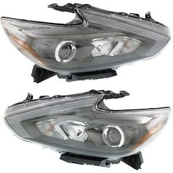 Headlight Set For 2016-2018 Nissan Altima Left And Right Smoked Housing Capa 2pc