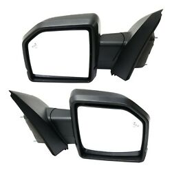 Mirror Set Of 2 For 2015-2018 Ford F-150 With Puddle Light Textured Black