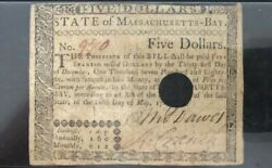 5 1780 Massachusetts Bay Colonial Currency Note Bill Five Dollars Revolution