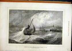 Old Antique Print Scarborough 1871 Fishing Boats Returning Harbour Storm 19th