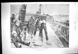 Old 1894 Scene Ship Deck After Storm Pumps Shaw Balfour Francis Foxwe 19th