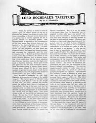 Antique Old Print Lord Rochdale's Tapestries Despatch Proxy Kingpages 1928