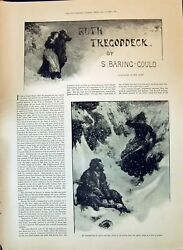 Antique Print 1897 Ruth Tregoddeck Baring Gould Story Snow Storm Wal Paget 19th