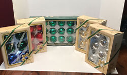 """Vintage Pyramid Glass Ball Christmas Ornaments 8 Ornaments 3"""" Round Made In Usa"""
