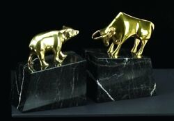 Stock Market Solid Brass Lacquered On Marble Bookends Statue Bull And Bear