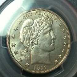 Pcgs Ms-64 1911-s Barber Half Dollar  Better Date Nice Coin