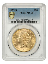 1877-s 20 Pcgs Ms61 - Liberty Double Eagle - Gold Coin - Better S-mint